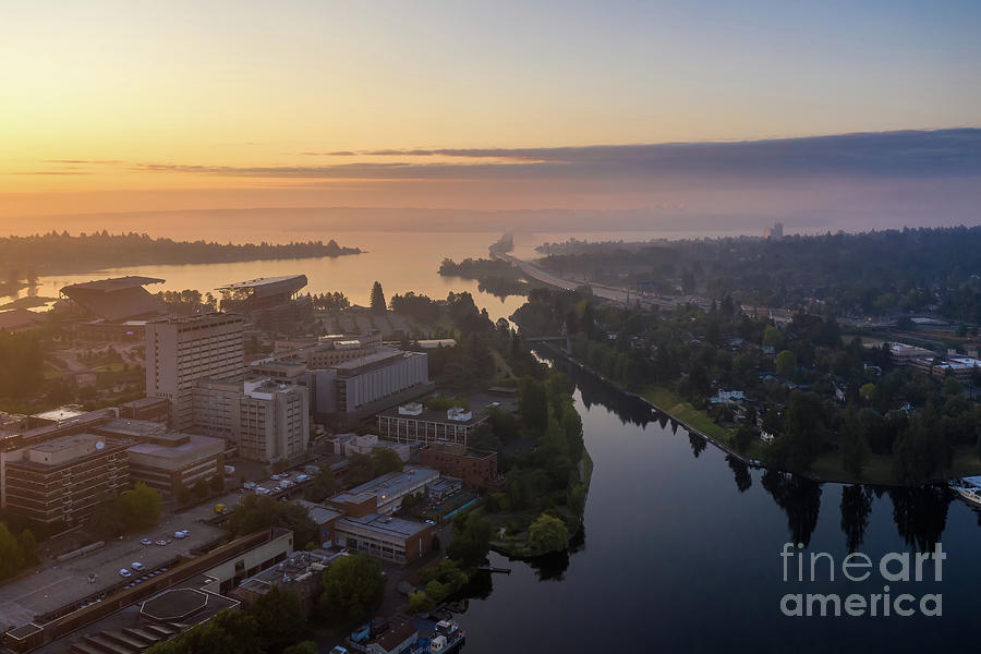 Over Seattle University Of Washington And Montlake In The Mist Photograph