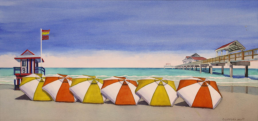 Beach Painting - Overlooking the Pier by Cory Clifford