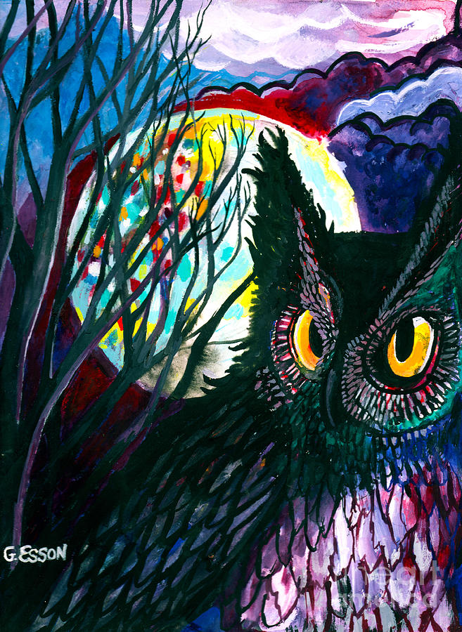 Owl On A Full Moon Night by Genevieve Esson