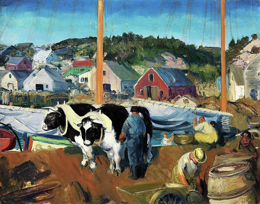 George Wesley Bellows Painting - Ox Team, Wharf At Matinicus - Digital Remastered Edition by George Wesley Bellows