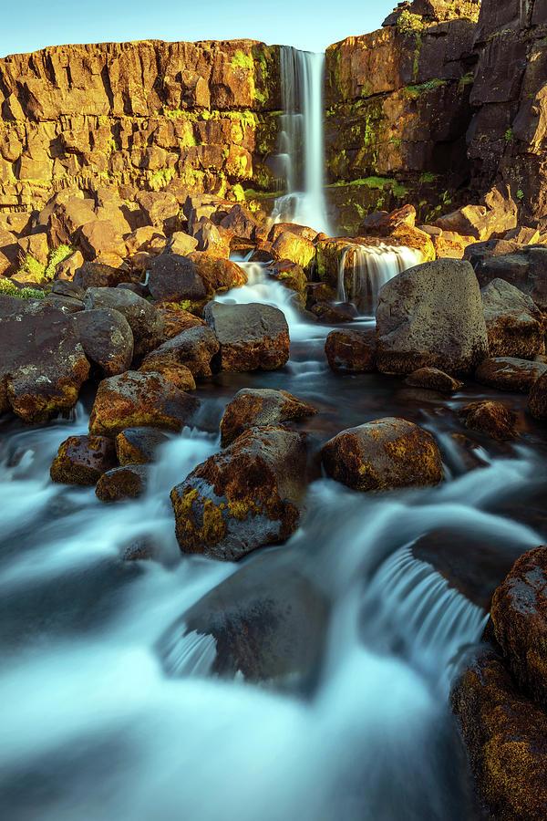 Oxararfoss Waterfall In The Thingvellir National Park Photograph