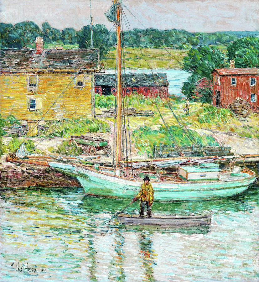 Oyster Sloop Painting - Oyster Sloop, Cos Cob - Digital Remastered Edition by Frederick Childe Hassam