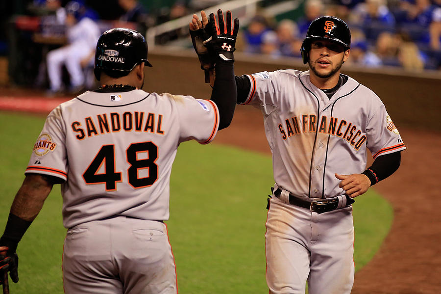 Pablo Sandoval and Gregor Blanco Photograph by Jamie Squire