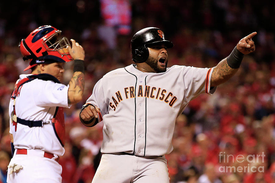 Pablo Sandoval, Yadier Molina, and Hunter Pence Photograph by Jamie Squire
