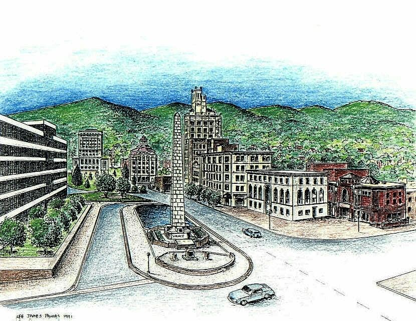 Asheville Nc Drawing - Pack Square in Asheville by Lee Pantas