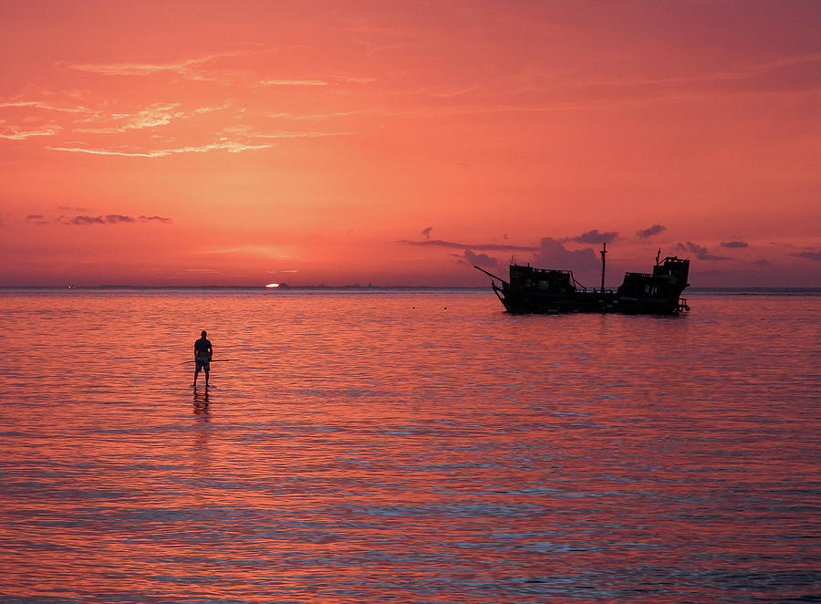 Cozumel Photograph - Paddleboard at Sunset by Rebecca Wenberg
