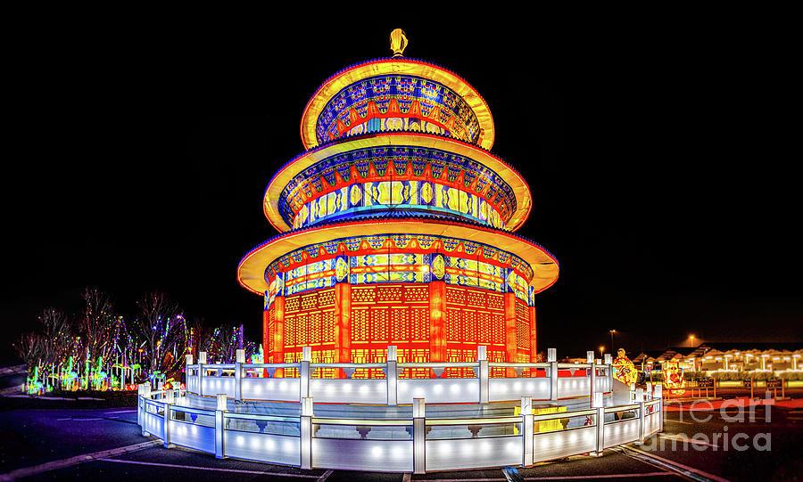 pagoda lantern festival by night with beatiful chinese light decorations by Luca Lorenzelli