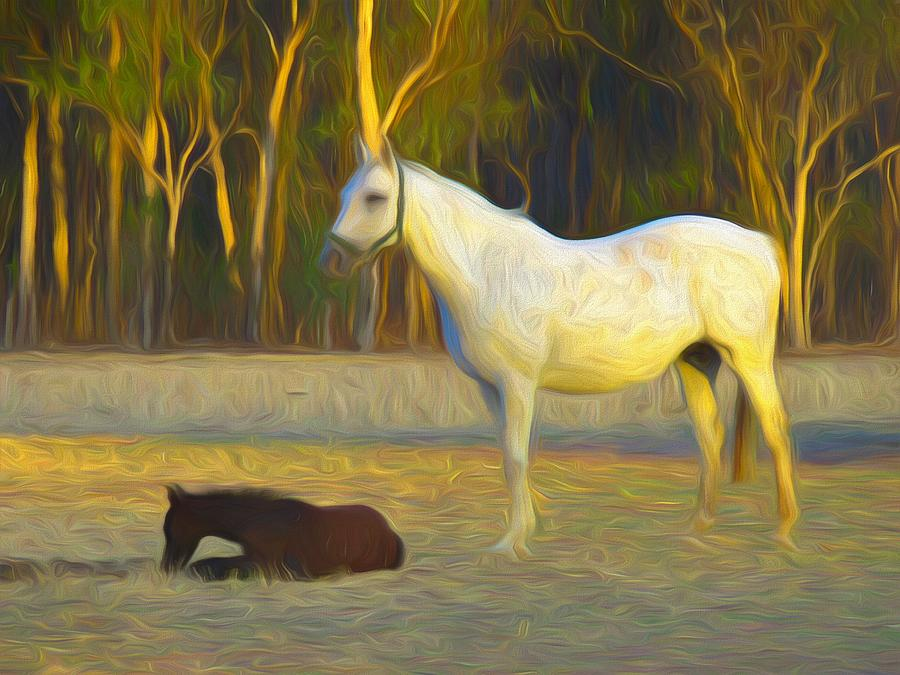 Horse Mixed Media - Painted Crystal And Foal by Joan Stratton