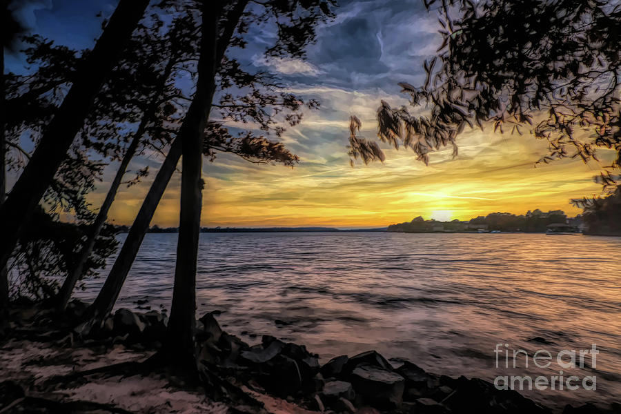 Painted Lake Norman Sunset by Amy Dundon