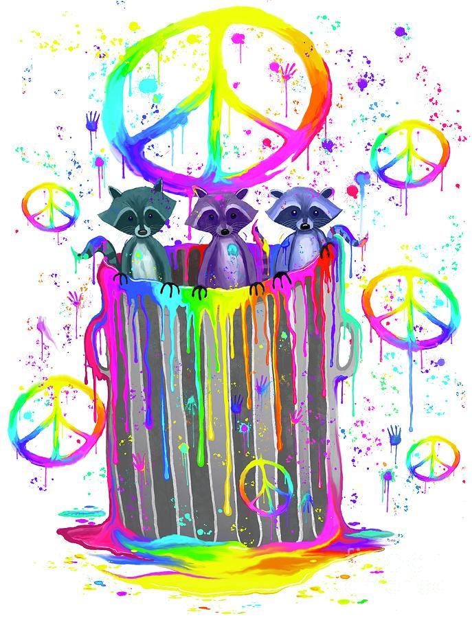 Painted Peace Raccoons Digital Art