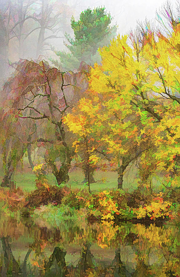 Painterly Departing Fog In Autumn by Gary Slawsky