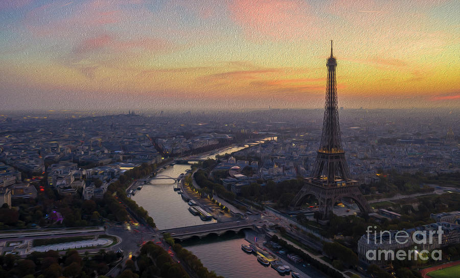 Paris Photograph - Painterly Over Paris And Eiffel Tower At Sunset by Mike Reid