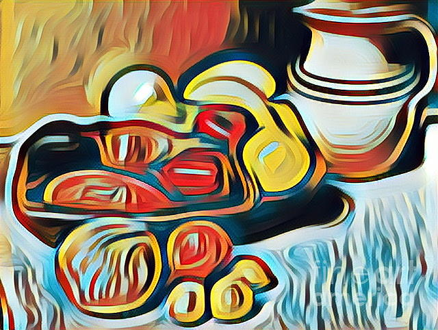 Fruits And Vegetables Digital Art - Painterly Still Life Study by Karen Francis