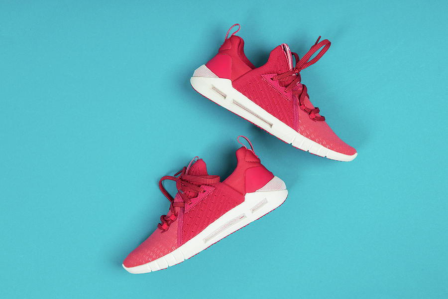Pair Of New Pink Sneakers, Sport Shoes On Blue Background. Pink Womens Sport, Running Shoes Photograph