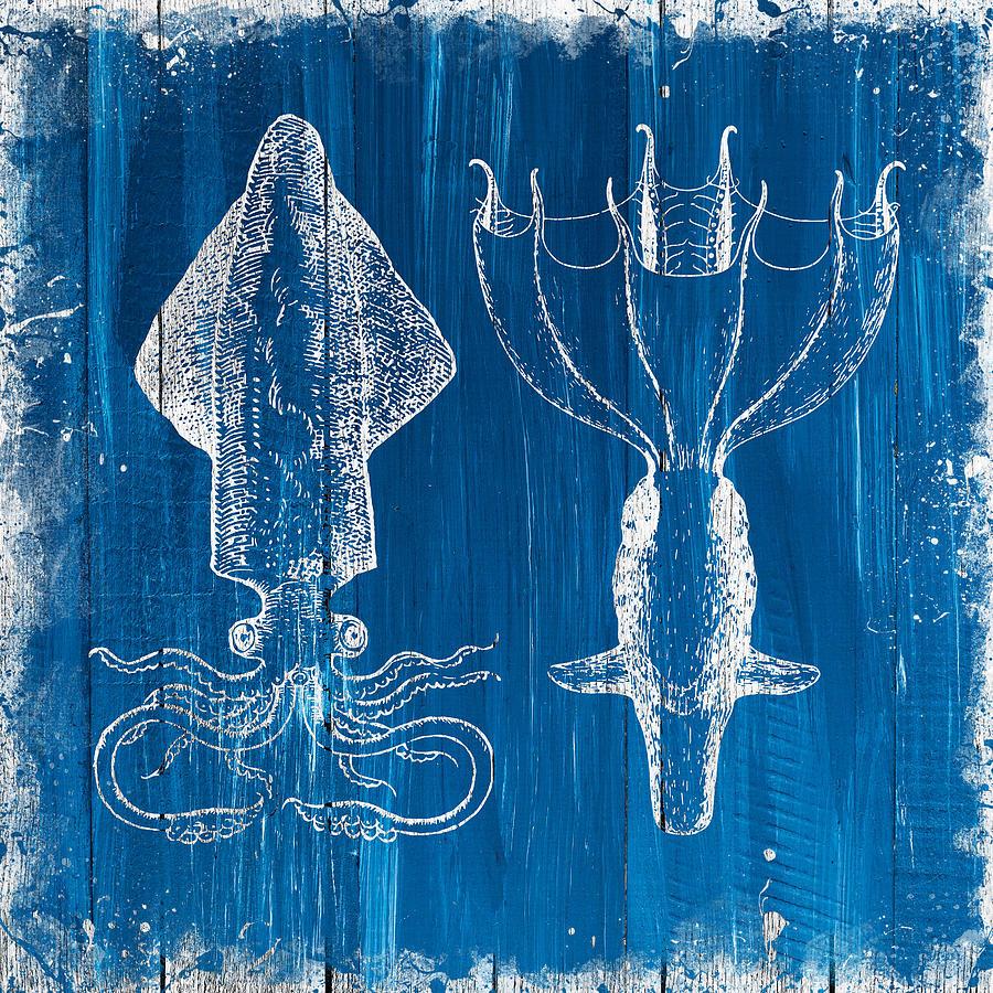 Pair Of Squids On Blue Wood Digital Art