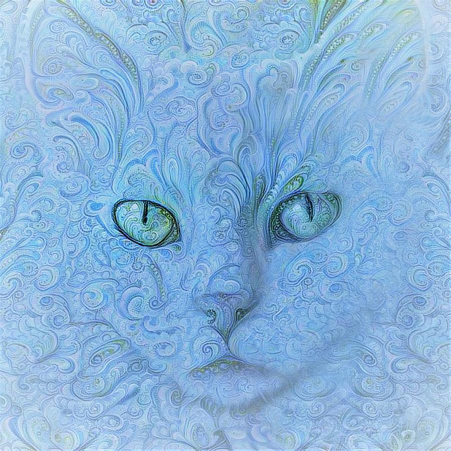 Paisley White Cat in Bright Blue by Peggy Collins