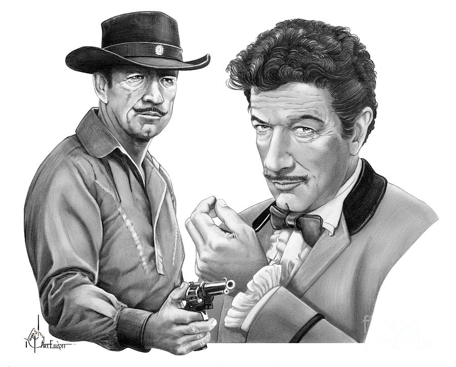 Pencil Drawing - Paladin-Have Gun Will Travel by Murphy Elliott