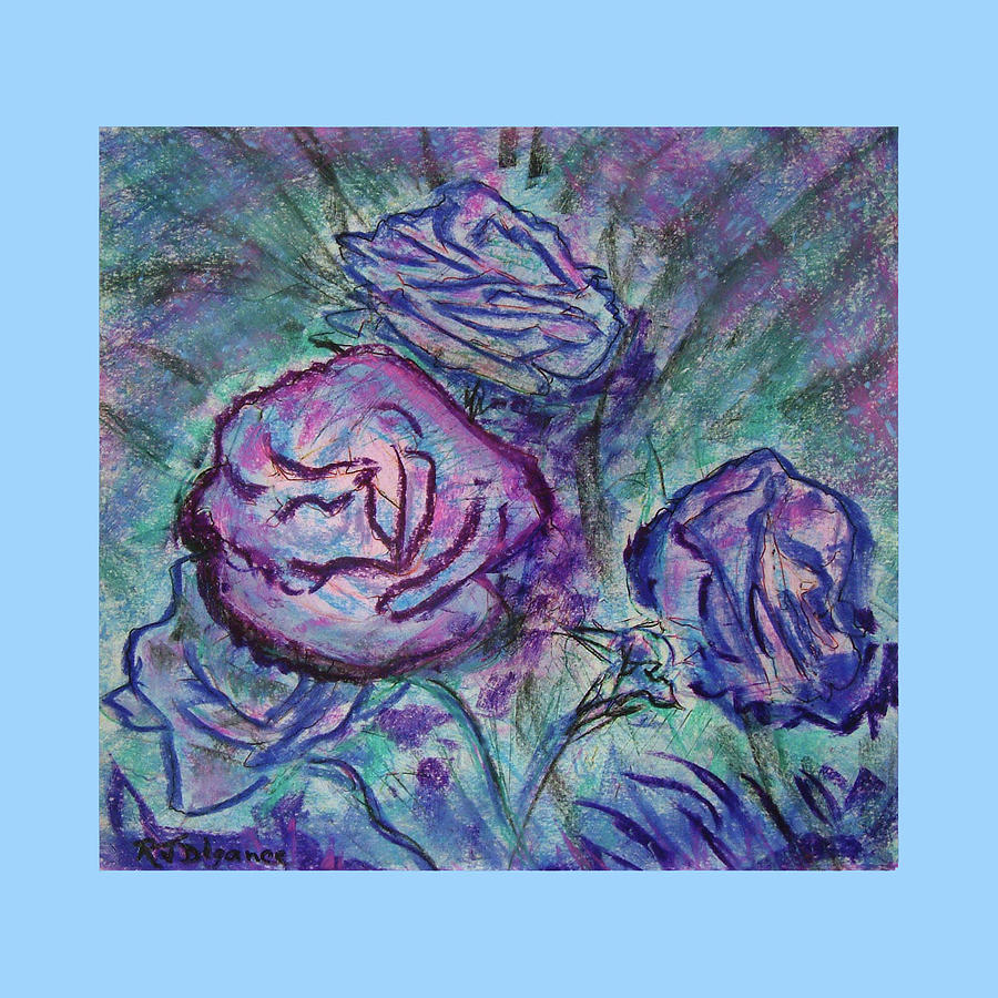 Pale Blue Edged Roses Painting