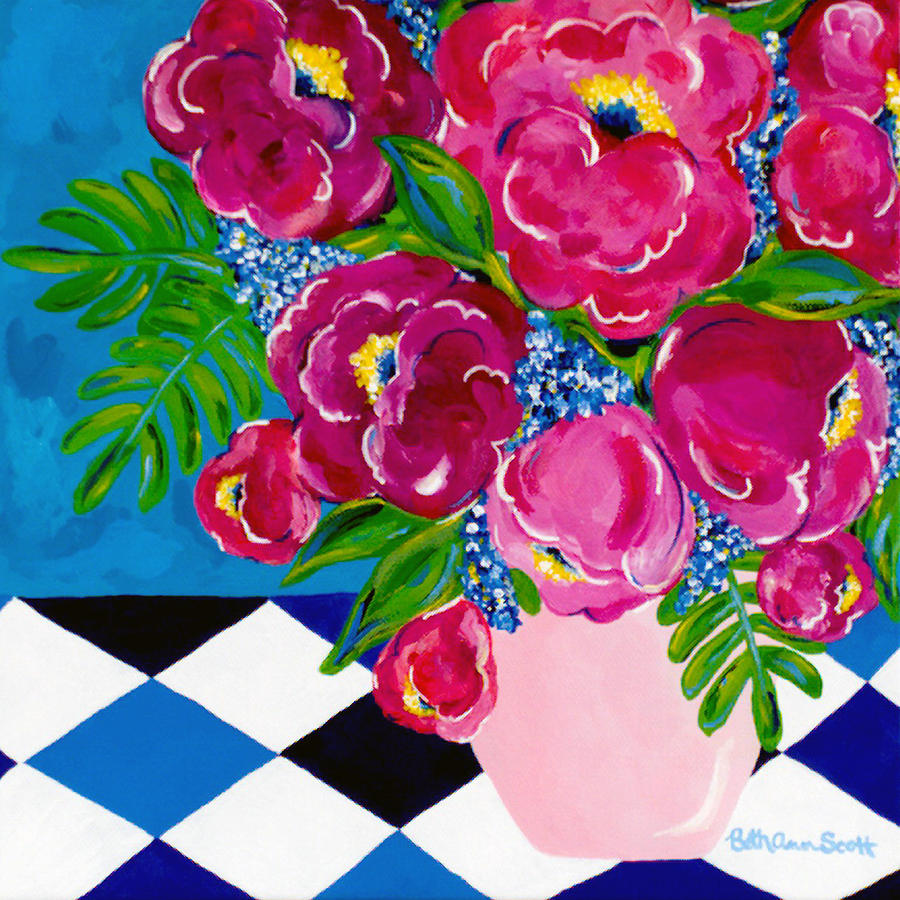 Floral Painting - Pale Pink Vase by Beth Ann Scott