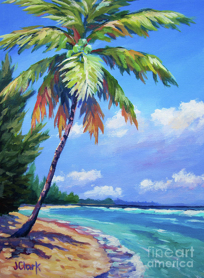 Palm Painting - Palm Tree and View East    by John Clark