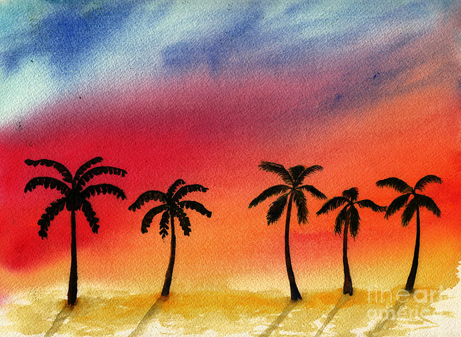 Palm Trees In Flaming Sunset Digital Art