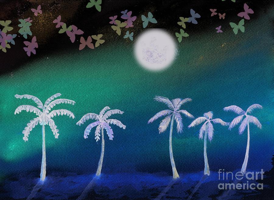 Palm Trees Under A Butterfly Moon Digital Art