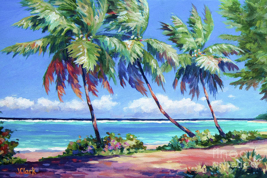 Cayman Painting - Palms at the Islands End by John Clark