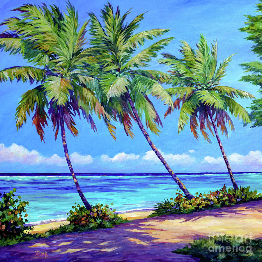 Palms At The Islands End Square Painting