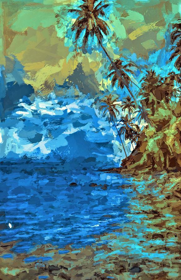 Palms Over Water Liapari Island in Solomon Islands by Joan Stratton