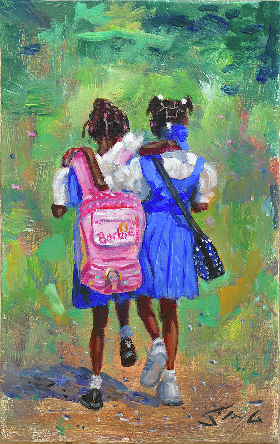 School Uniforms Painting - Pals 2 by Jonathan Guy-Gladding JAG
