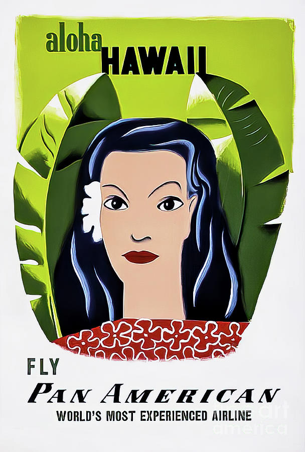 Pan Am Aloha Hawaii Travel Poster 1953 Drawing