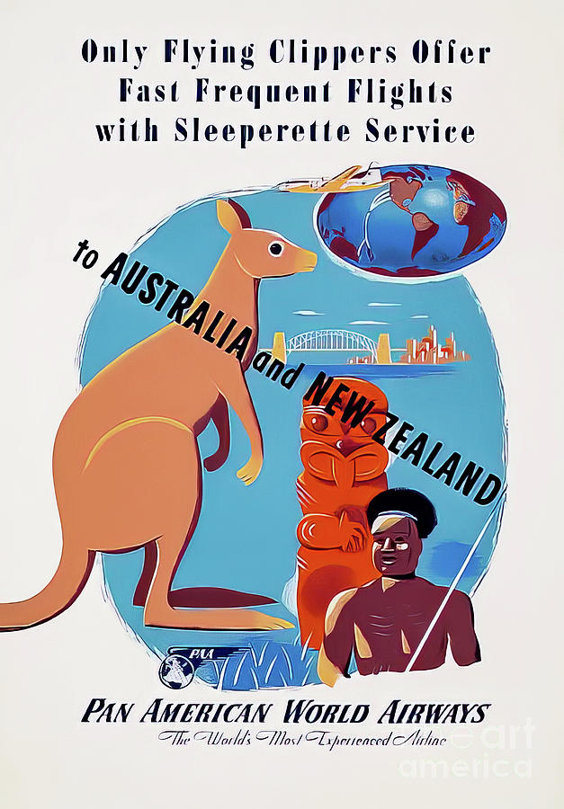 Pan Am Australia And New Zealand Travel Poster1947 Drawing