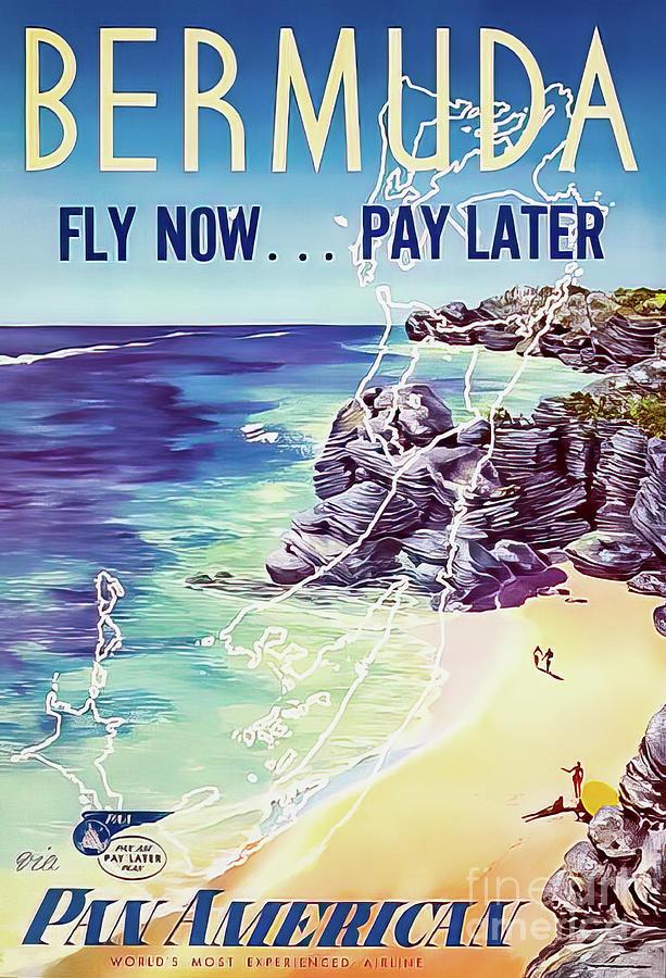 Pan Am Bermuda Travel Poster 1950 Drawing