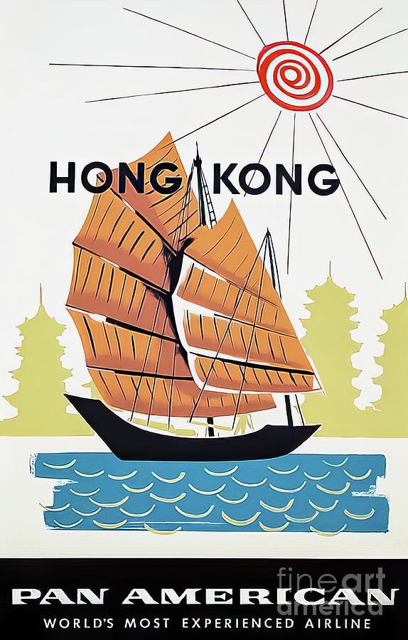 Pan Am Hong Kong Travel Poster 1962 Drawing