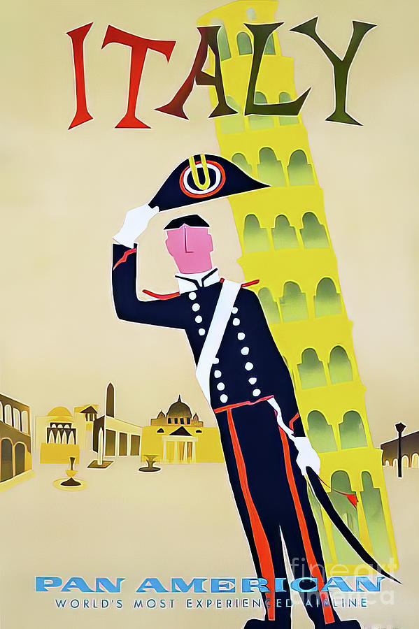 Pan Am Italy Travel Poster 1960 Drawing