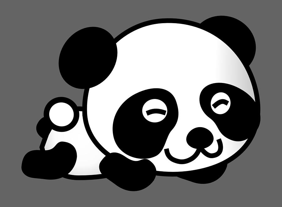 Panda Cartoon Bear Animal Cute White Black Comic Digital Art By Jeff Brassard