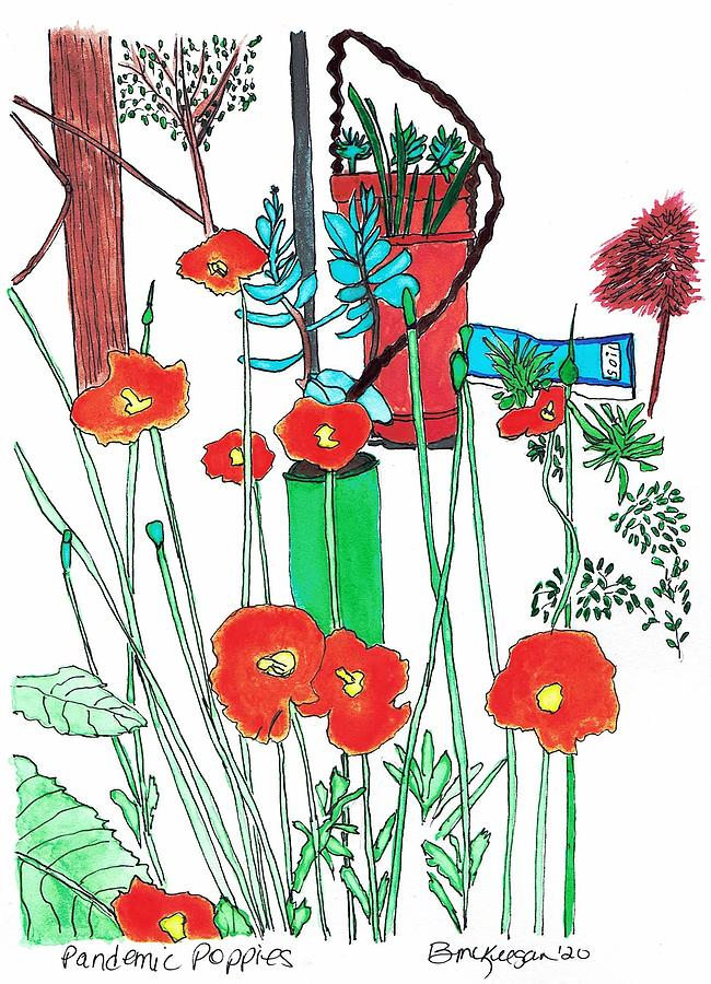 Poppies Mixed Media - Pandemic Poppies by Bonnie McKeegan