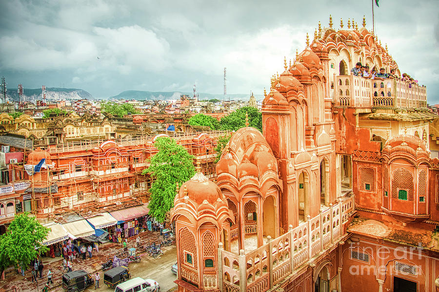 Panorama From Hawa Mahal Jaipur Rajasthan India by Stefano Senise