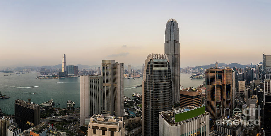 Panorama of Hong Kong Central business district and Kowloon acro by Didier Marti
