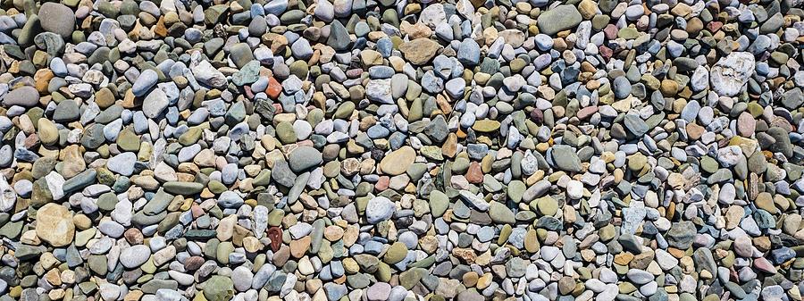 Panorama Of Pebble Sea Stones Background Morecambe Uk Photograph