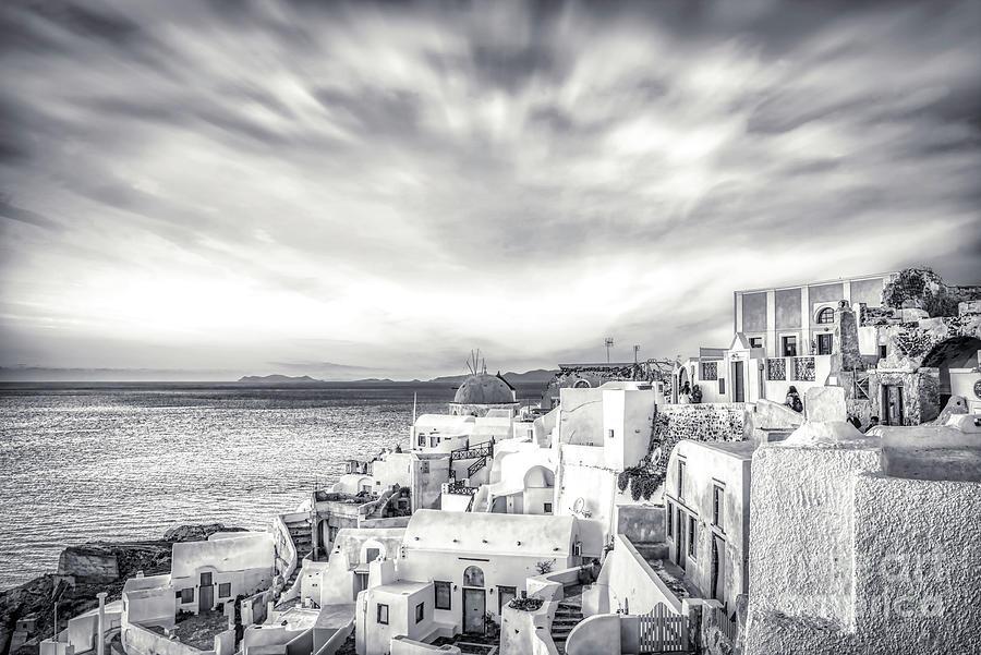 Santorini Photograph - Panorama of Santorini Island - Greece BW by Stefano Senise