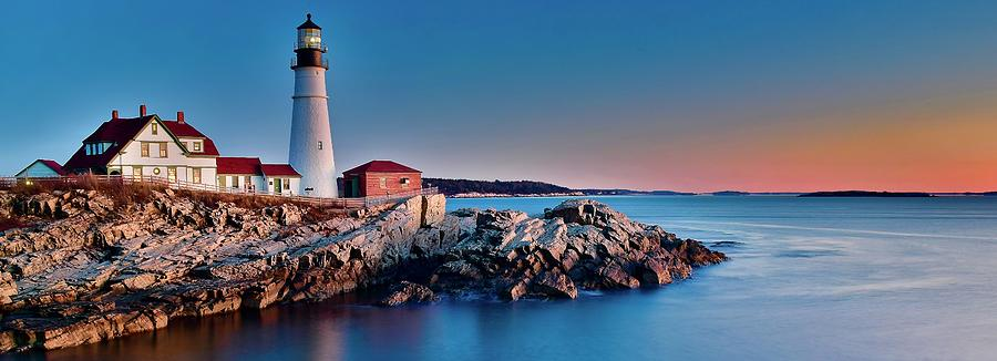 Panoramic Lighthouse and Seaside View by Frozen in Time Fine Art Photography