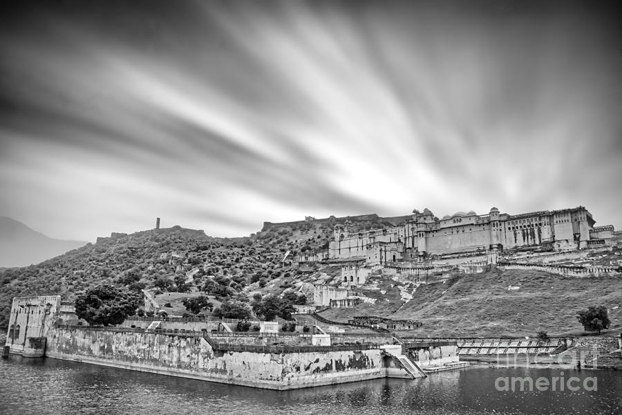 Amer Fort Photograph - Panoramic view of Amer Fort - India Black and White by Stefano Senise