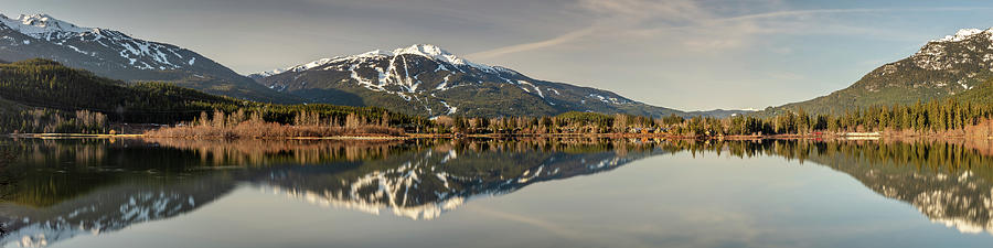 Panoramic View Of Whistler Blackcomb Mountains From Green Lake Photograph