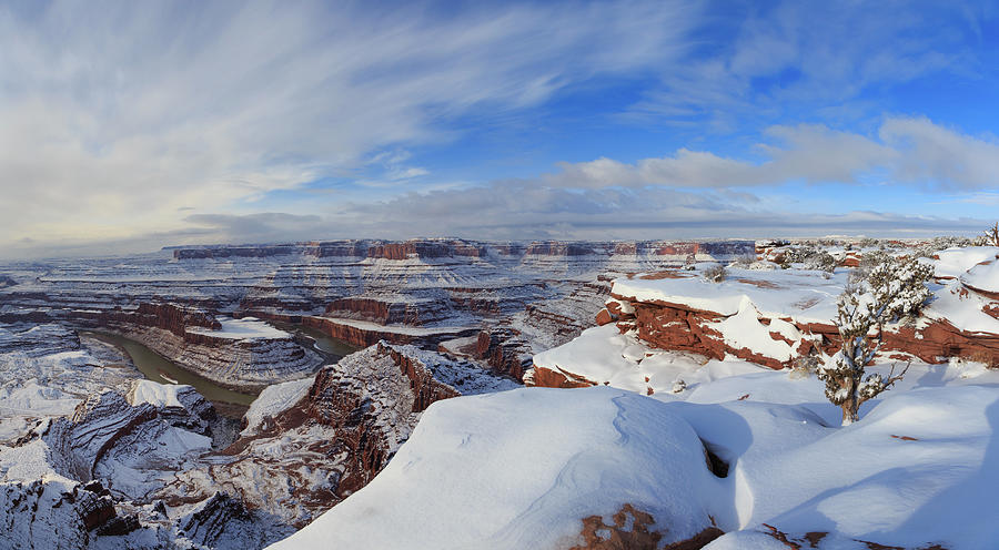Panoramic Winter Wonderland At Dead Horse Point State Park Panorama Photograph
