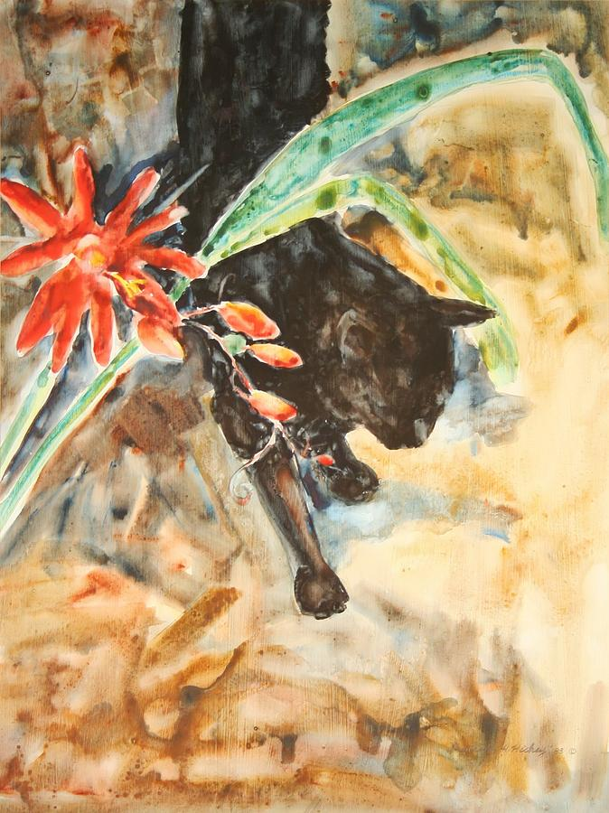 Panther With Passion Flower Painting by Helen Hickey