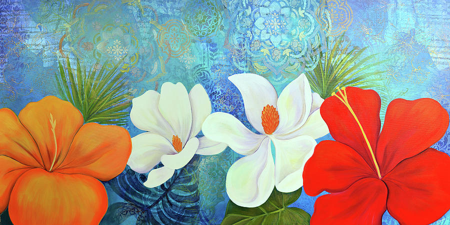 Magnolia Painting - Paradise in Bloom III by Shadia Derbyshire
