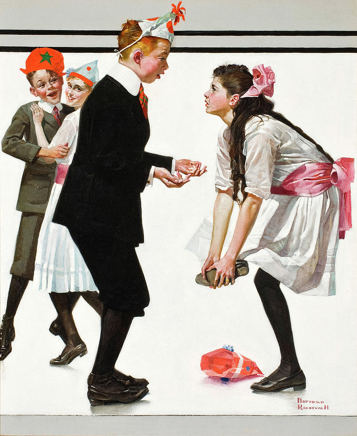 Norman Rockwell Painting - Pardon Me, Children Dancing at a Party, 1918 by Norman Rockwell