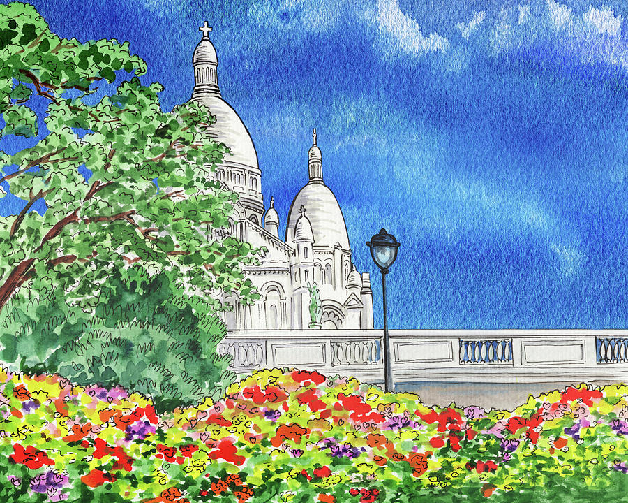 Paris France Sacre Coeur Cathedral Watercolor Painting