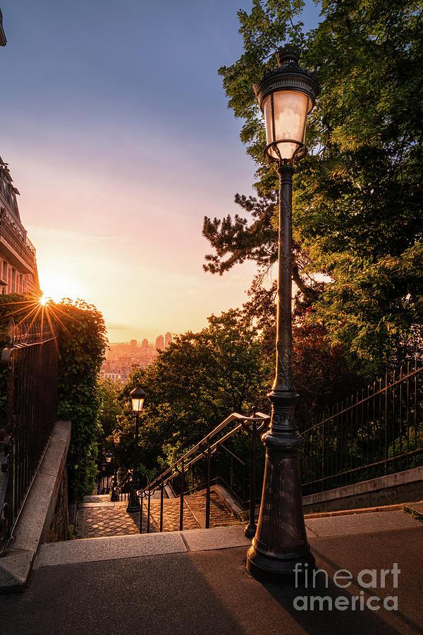 Paris Photograph - Paris Montmartre Stairs sunrise by Thomas Speck